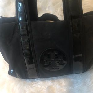 Tory Burch black tote with Logo